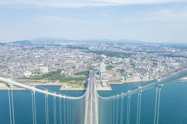 明石海峡大橋と明石の街