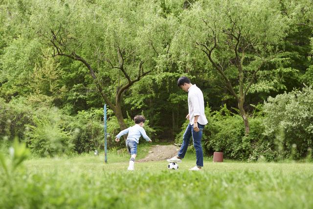 息子とサッカー
