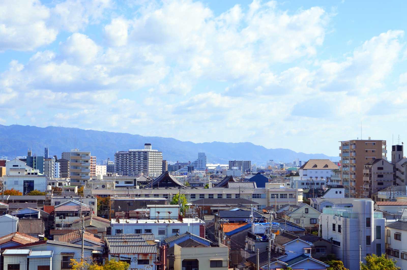 尼崎城天守閣からの街並み