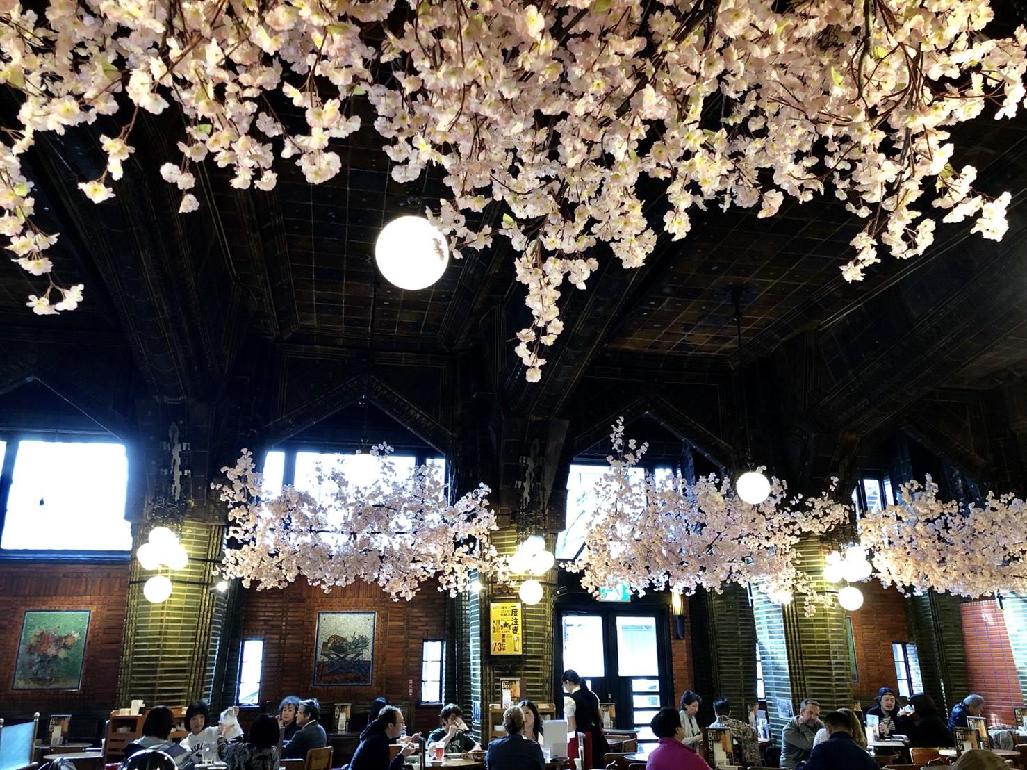 ビヤホールに咲く桜