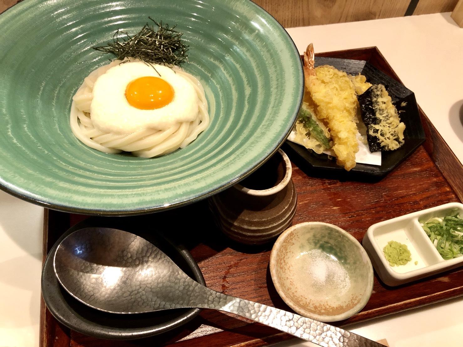 山かけおうどん+天ぷら