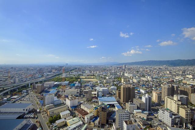東大阪の街を空撮