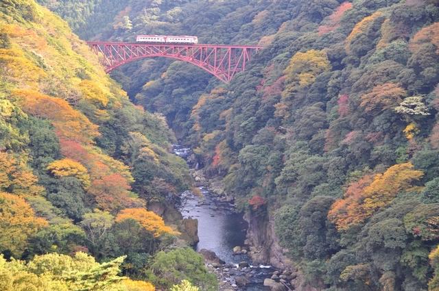 白川鉄橋を走る南阿蘇鉄道トロッコ列車