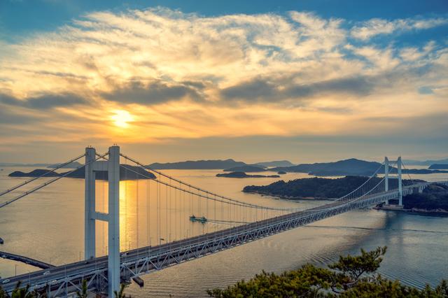 岡山・瀬戸大橋の夕暮れ