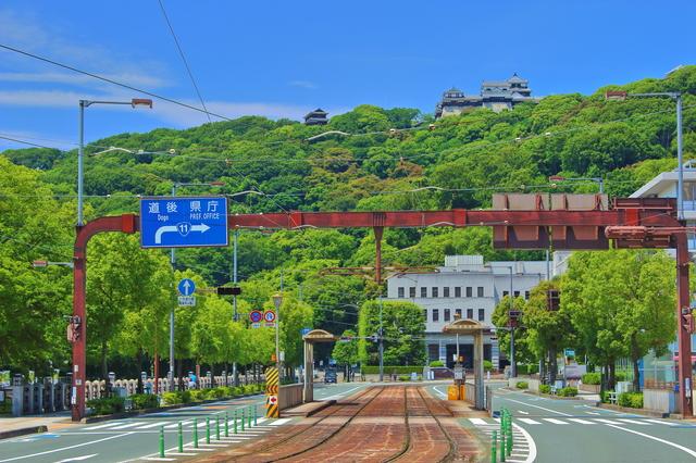 松山城と市街地