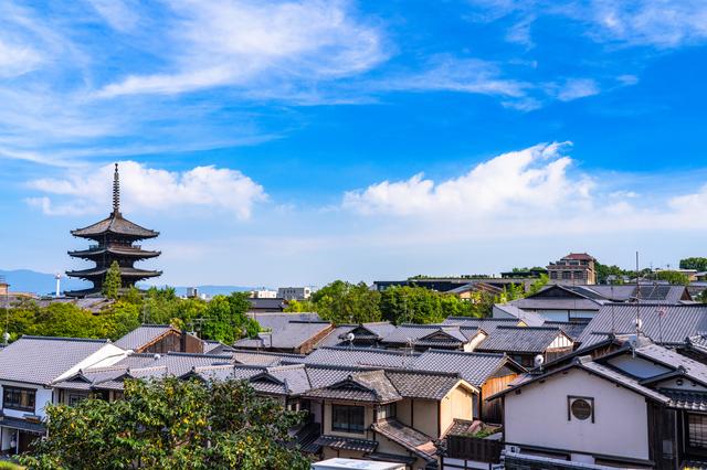 八坂の塔と京都の街並み