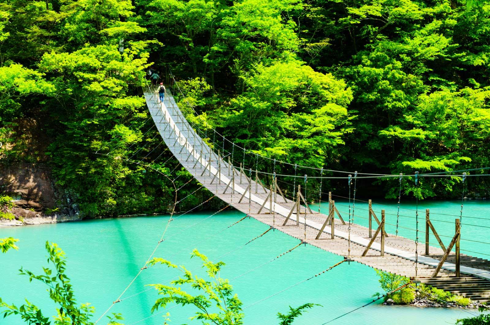 「夢のつり橋」とダム湖