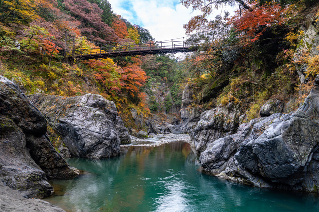 渓谷に架かる吊り橋