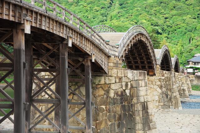木造のアーチを描く錦帯橋