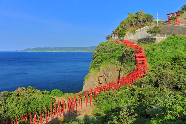 海岸沿いに建つ元乃隅神社