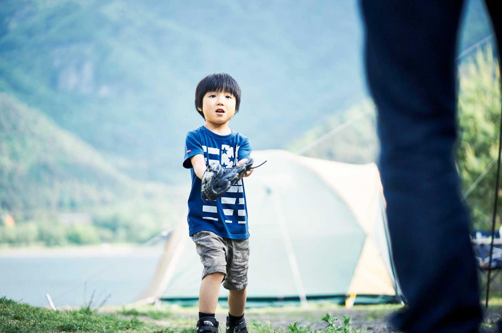息子とキャッチボール