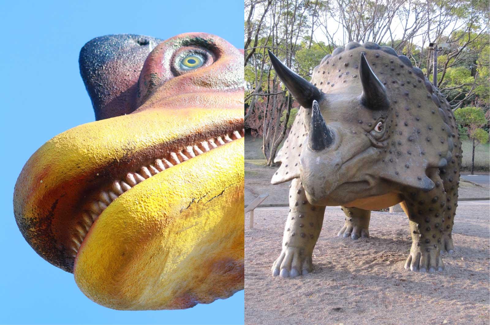 ブラキオサウルスとトリケラトプス