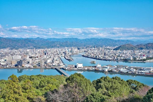 五台山から高知市内の眺め