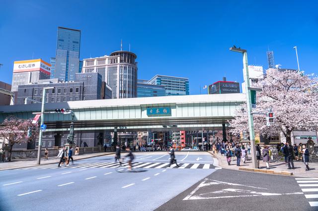 桜が咲く、東京・日本橋