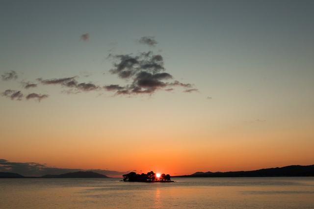 島根県立美術館から見る夕日