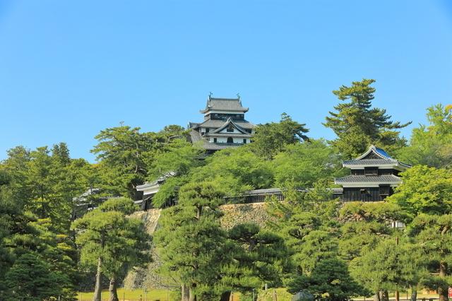 小高い山にそびえる松江城